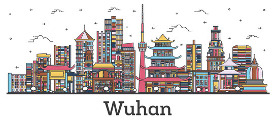 Fototapete - Outline Wuhan China City Skyline with Color Buildings Isolated on White.