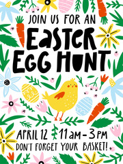 Easter egg hunt invitation or poster template with flowers, eggs, bird, elements composition.