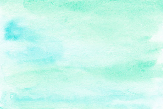 Mint turquoise and blue abstact background Watercolor texture
