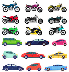 Poster de jardin Cartoon voitures Vans and sports cars vector, isolated set of transportation. Vehicles transport of different types and shapes. Motorbike and bikes with seat, lorry. Buy new car and moto bike. Flat cartoon