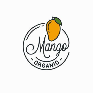 Mango fruit logo. Round linear logo of mango