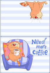 Canvas Prints Baby room Vector Illustration of a Cute Cat and Сoffee Сup. Post card