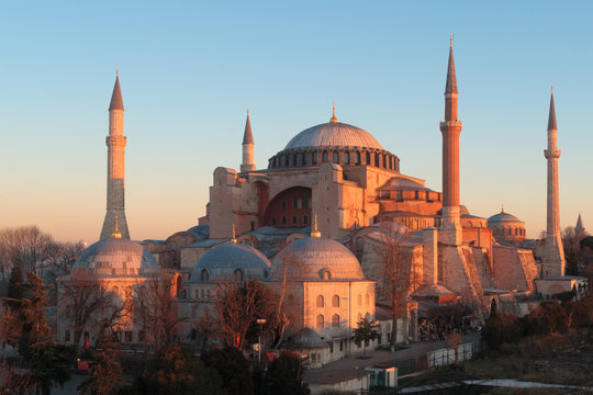 Istanbul, Turkey - Jan 11, 2020: Turkey Istanbul Elevated view of the Hagia Sophia Mosque