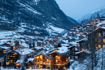 zermatt, beautiful little Swiss village at the foot of Matterhorn, Swiss Alps