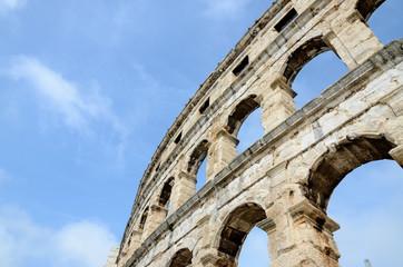 Arena, Pula, Istria, Croatia. Ancient amphitheatre from Roman era in city centre. Monument, cultural heritage and famous landmark. Popular tourist destination. Pulska Arena