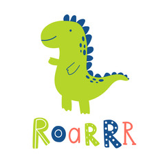 Dinosaur cute vector illustration with lettering roar. Cute cartoon character in childish doodle style. Hand drown set with dino collection