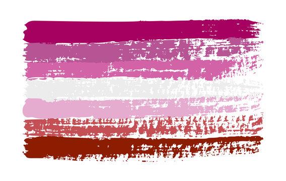 Grunge lesbian pink pride flag. Vector illustration Symbol of gay. LGBT movement. LGBTQ community.