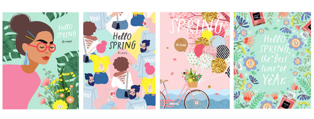 Spring! Cute vector illustration of a woman with flowers, a bicycle with balloons, young people and a floral frame for a poster, card, flyer or banner