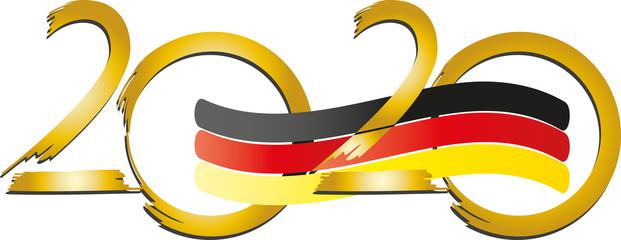 2020 Jahreszahl mit der Flagge von Deutschland, Wahl, Wahlen, Politik, Demokratie, Wahljahr, EU