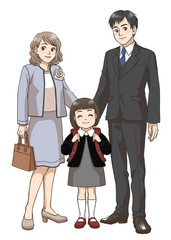 A Japanese elementary school girl and her parents