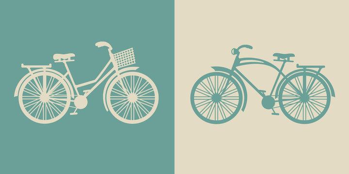 vector vintage bicycles with retro design