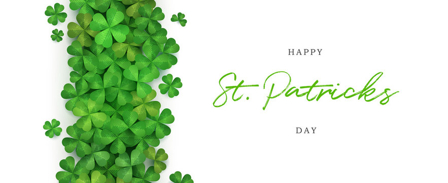 Happy St. patrick's day celebration greeting banner with copy space vector illustration template