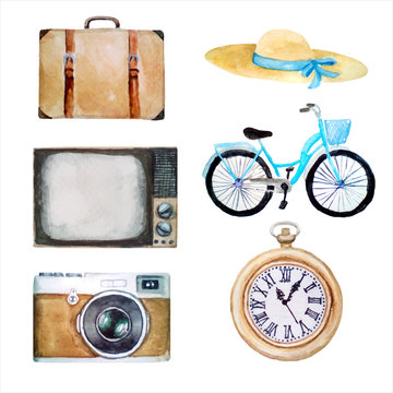 watercolor illustration of vector retro vintage objects, old icons of hat, suitcase, tv, bicycle, photo camera, pocket clock, isolated on white