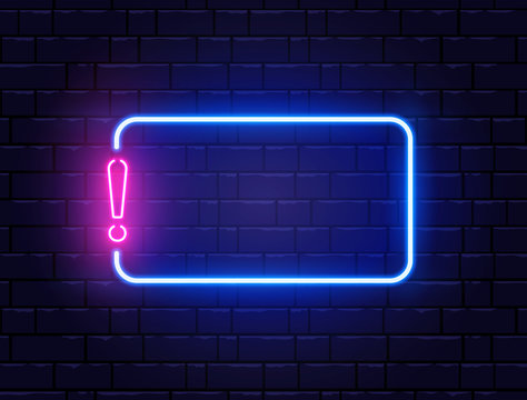 Neon quiz banner. Glowing exclamation mark. Color neon banner on brick wall. Realistic bright night signboard. Shining neon effect. Exclamation mark frame logo. Vector illustration