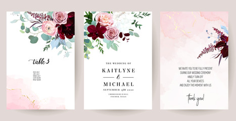 Fototapeta Elegant wedding cards with pink watercolor texture and spring flowers obraz