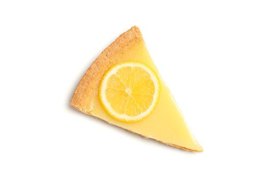 Delicious lemon tart slice isolated on white background