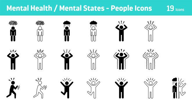 Mental Health / Mental States - People Icon Set, 19 icons