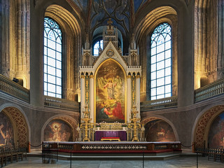 High altar of Turku Cathedral, Finland. The altarpiece was painted in 1836 by Swedish artist Fredrik Westin. The wall frescoes were created by court painter Robert Wilhelm Ekman in 1850-1854.