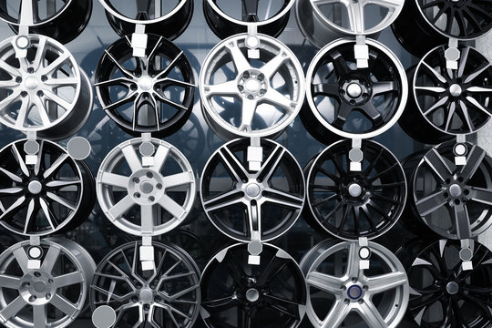 Alloy wheels on display in auto store