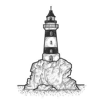 Lighthouse on rock cliff sketch engraving vector illustration. T-shirt apparel print design. Scratch board imitation. Black and white hand drawn image.