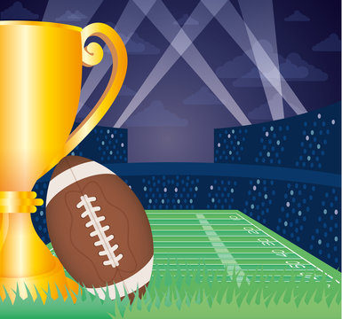 superbowl sport poster with balloon and trophy in stadium