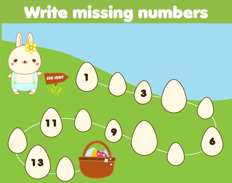 Mathematics educational game for children. Complete the row, write missing numbers. Easter theme activity for kids