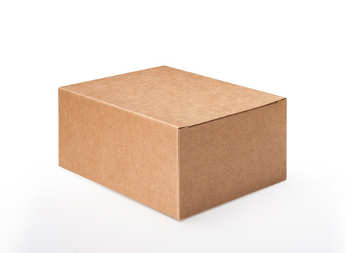 Brown blank paper box isolated on white background, clipping path