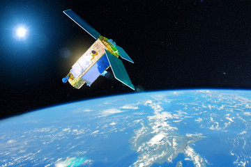 Satellite for studying the atmosphere and hydrosphere in the low orbit of planet Earth. Elements of this image furnished by NASA.