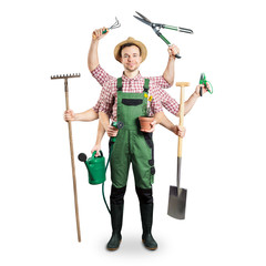 Gardener with multiple arms and tools isolated on white