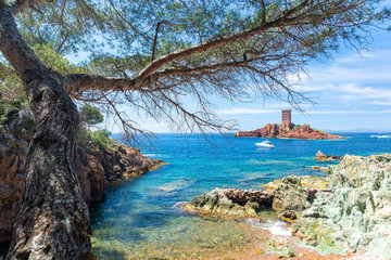 beautiful coast near Frejus on french riviera in south France