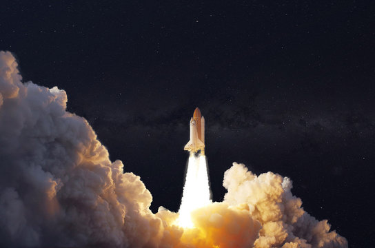 the shuttle spaceship launch in the sky, fly in the space  elements of this image furnished by nasa