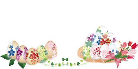 イースター和柄の卵に春の花がかごに入ったイラストのバナースタイル背景素材