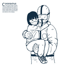 The doctor is carrying a sick girl.A girl wearing masks to help prevent the spread of a deadly coronavirus.illustration vector for coronavirus and  pollution.
