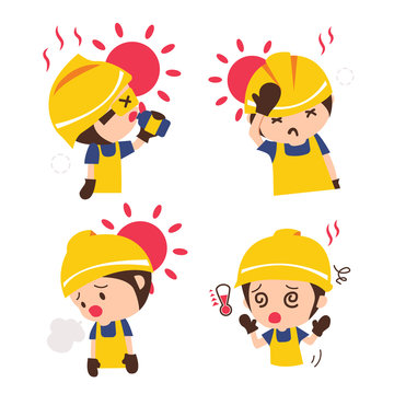 Set construction worker with symptoms of heat stroke.Industrial safety cartoon.vector illustration