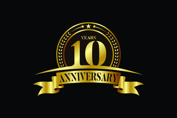 10th years anniversary logo template Vector design birthday celebration
