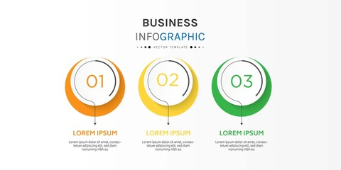 Business infographic element with 3 options, steps, number vector template design