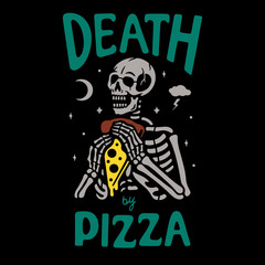 Color skeleton with pizza text on black background