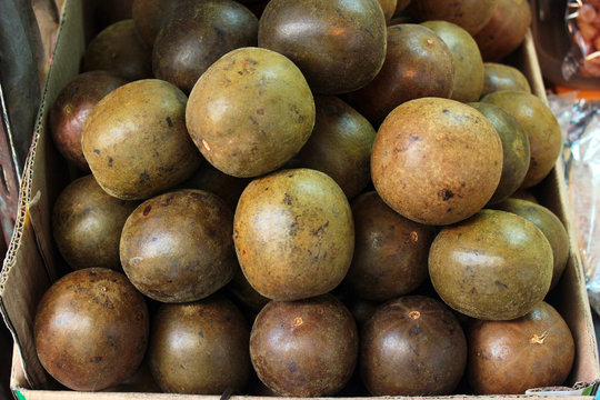Monk fruits (Siraitia grosvenorii), used as a low-calorie sweetener for cooling drinks and in traditional Chinese medicine.