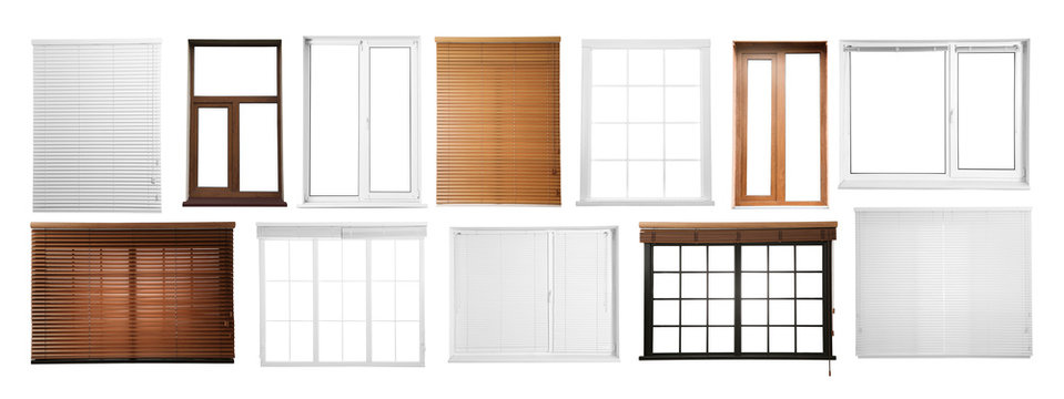 Set with different windows on white background