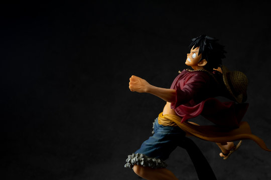 Bangkok, Thailand - February 4, 2020: Plastic figurine of Monkey D. Luffy, also known as Straw Hat Luffy, One Piece.