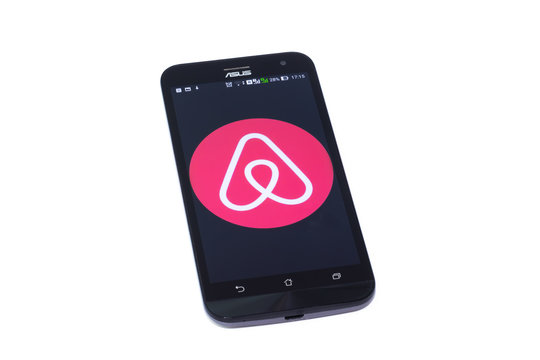 Kouvola, Finland - 23 January 2020: Airbnb app logo on the screen of smartphone Asus