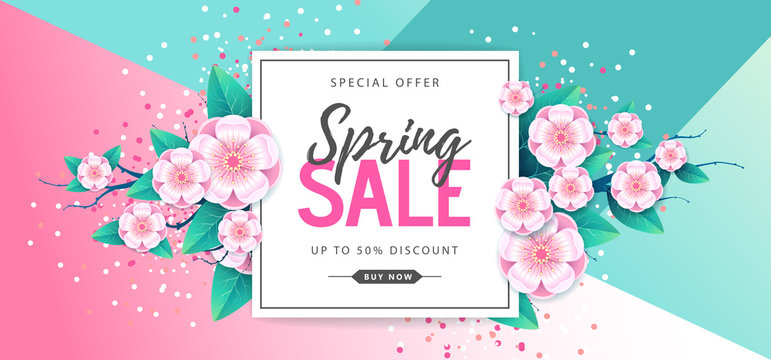 Spring big sale poster with full blossom flowers. Spring background