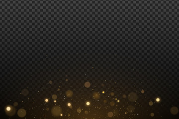 Wall Mural - Effect lights bokeh on a transparent background. Golden glares with flying glowing magical dust. Vector illustration