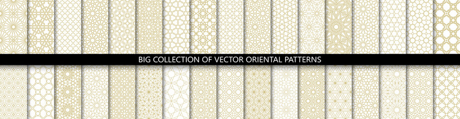 Papiers peints Artificiel Big set of 34 different vector ornamental seamless patterns. Collection of geometric patterns in the oriental style. Patterns added to the swatch panel.