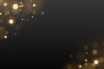 Wall Mural - Effect lights bokeh on a transparent background. Golden glares with flying glowing dust. Vector illustration
