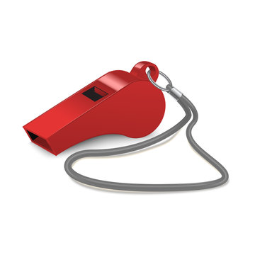 Realistic 3d Detailed Shiny Metallic Red Whistle. Vector