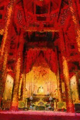 Phra Singh Buddha statue,Buddha images are Chiang Saen art Illustrations creates an impressionist style of painting.