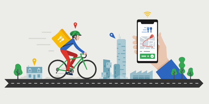 Food delivery service, bike messenger, coursier à vélo