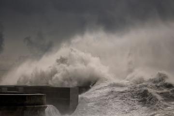 Aluminium Prints Dark grey Dark stormy sea