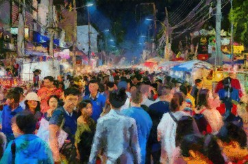 Chiang Mai Walking Street Thailand Handicraft market Illustrations creates an impressionist style of painting.